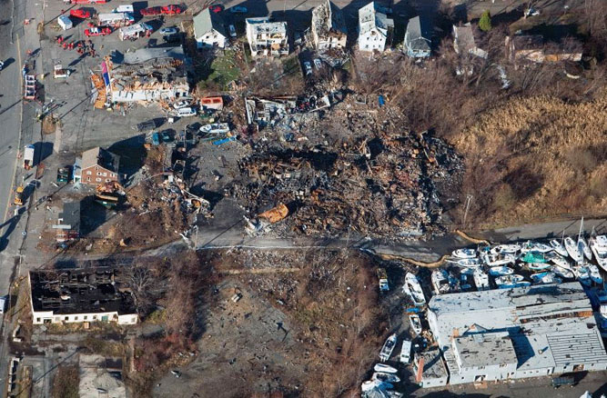 Observed blast damage from 2006 Danvers explosion