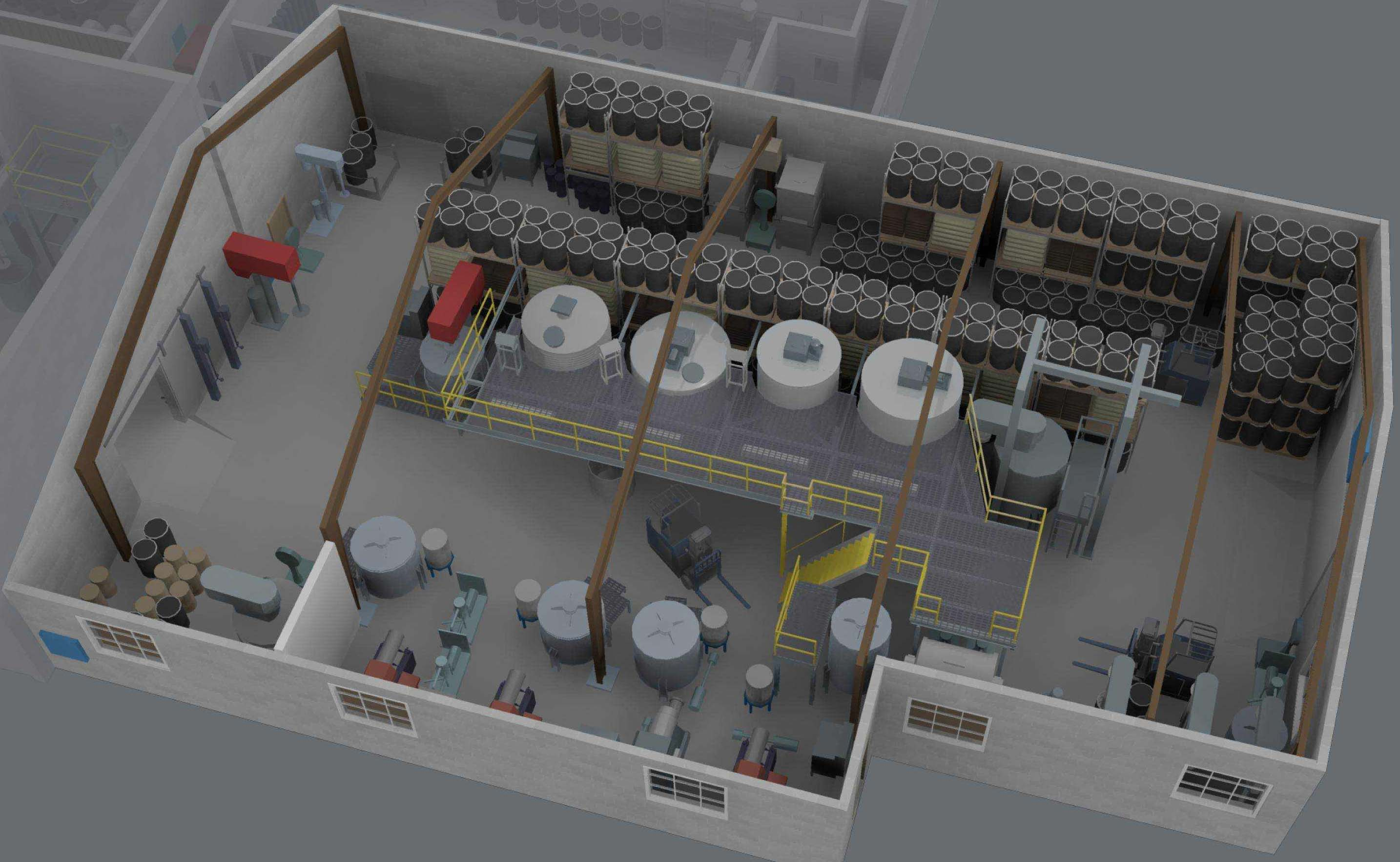 3D model of the facility prior to the explosion