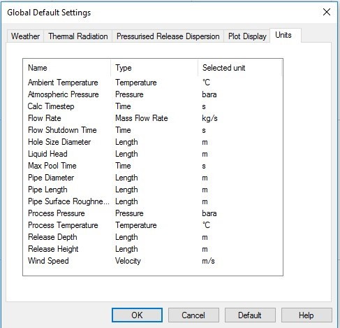 A preview of the Global Default Settings window where users can adjust the custom units