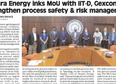 Gexcon Signs Memorandum of Understanding with Nayara Energy and IIT Delhi to set up Centre of Excellence (COE) in Process Safety and Risk Management